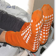 Wearing non-skid socks can help prevent falls.